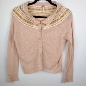 Free People Pink Fall Sweater with Bling buttons